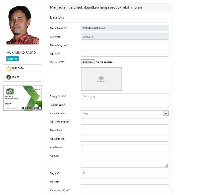 Halaman registrasi Pendaftaran Agen HNI HPAI Secara Online