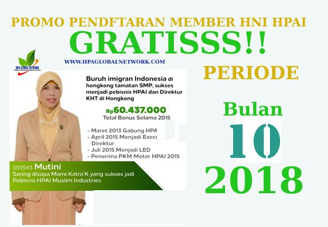 Promo Pendaftaran HNI HPAI Secara Gratis Bulan Oktober 2018