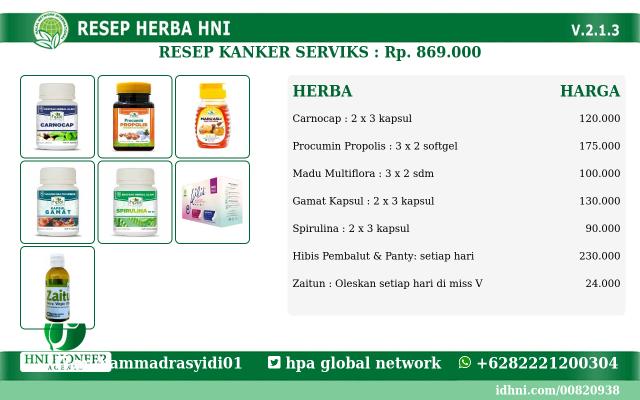 Jual Resep Herbal Kanker Serviks HNI HPAI Di Bandung